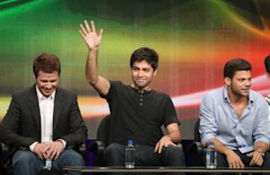 "Kevin Connolly, Adrian Grenier and Jerry Ferrara speak during the ""Entourage"" panel during the HBO portion of the 2011 Summer TCA Tour held at the Beverly Hilton on July 28, 2011 -- Getty Images"