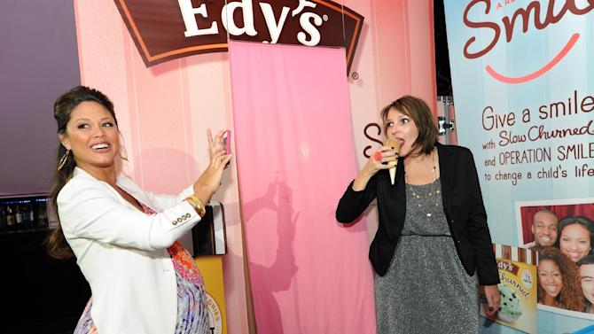COMMERCIAL IMAGE -   Mom-to-be Vanessa Lachey, left, joined Edy's Slow Churned Light Ice Cream at the SocialLuxe Lounge, Thursday, August 2, 2012, in New York,  to capture photos of influential bloggers.   For every ice cream photo uploaded to www.Facebook.com/EdysIceCream, $5 is donated to Operation Smile. (Photo by Diane Bondareff/Invision for Edy's Slow Churned/AP Images)
