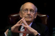 United States Supreme Court Justice Stephen Breyer listens during a forum called From the Bench to the Sketchbook at the French Cultural Center, Monday, Feb. 13, 2017, in Boston. (AP Photo/Steven Senne)