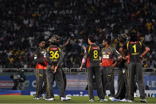 Sunrisers Hyderabad players celebrates after taking wicket during match against Titans at Karbonn Smart Champions League Twenty-20 Match at Jharkhand State Cricket Association (JSCA) International Cri
