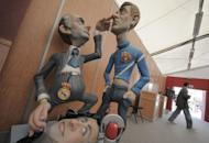 Ninots, or model figures, of Real Madrid football club coach Jose Mourinho and Barcelona football club assistant coach Tito Vilanova that were to be set alight during the Fallas festival in Valencia in tribute to Saint Joseph , seen on March 9. Mourinho has admitted that he was wrong to poke Barcelona's Tito Vilanova in the eye -- one year after their infamous clash