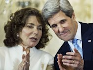 "Teresa Heinz Kerry (L) and husband John Kerry, the US Secretary of State, in Washington, DC on February 6, 2013. Heinz Kerry was hospitalized with an unknown illness after reportedly being rushed by ambulance for treatment in a ""critical condition"""