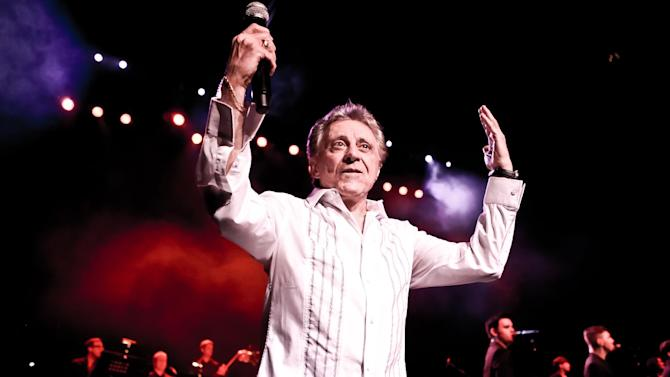 This undated theater image released by The Hartman Group shows Frankie Valli of Frankie Valli and The Four Seasons performing.  Valli, whose falsetto fuels The Four Seasons' music, on Wednesday announced plans to make his Broadway debut with seven shows at the Broadway Theatre from Oct. 19-27. Tickets go on sale Aug. 23.  (AP Photo/The Hartman Group)