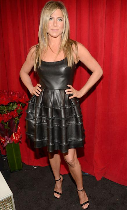 People's Choice Awards: A-lister Jennifer Aniston mixed things up by going for a leather prom dress. Copyright [Getty]