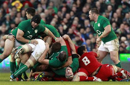Ireland's Paul O'Connell reacts during their Six Nations rugby union match against Wales at Aviva stadium in Dublin