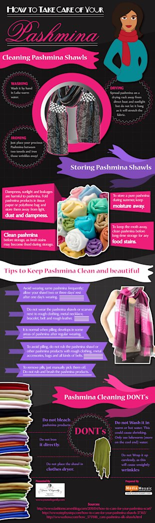 Great Tips to Preserve your Pashmina Shawls [Infographic] image How to Take Care of Your Pashmina Infographic by Yours Elegantly