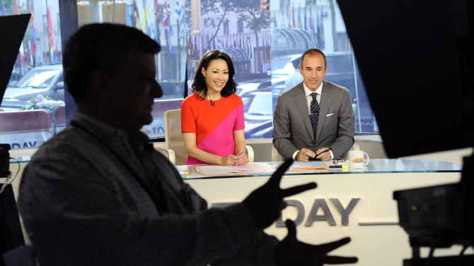 "In this photo released by NBC, ""Today"" show co-hosts Ann Curry and Matt Lauer appear on the ""Today"" show, Thursday, June 9, 2011, in New York. Thursday was Ann's first day replacing Meredith Vieira as co-anchor of the show. (AP Photo/NBC, Peter Kramer)"