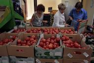 Women choose Dutch tomatoes at a supermarket in downtown Moscow on Thursday, Aug. 7, 2014. The Russian government has banned all imports of meat, fish, milk and milk products and fruit and vegetables from the United States, the European Union, Australia, Canada and Norway, Prime Minister Dmitry Medvedev announced Thursday. The move was taken on orders from President Vladimir Putin in response to sanctions imposed on Russia by the West over the crisis in Ukraine. The ban has been introduced for one year. (AP Photo/Ivan Sekretarev)