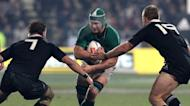 Ireland's Sean O'Brian (C) is tackled by New Zealand captain Richie McCaw (L) and Sam Cane during their rugby union match on June 16. Ex-All Blacks skipper Justin Marshall said Ireland had showed they were capable of springing an upset in the final encounter, in Hamilton next weekend