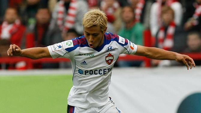 CSKA Moscow's Keisuke Honda controls a ball during a Russian Premier League Championship soccer match between CSKA Moscow and Spartak Moscow at the Lokomotiv stadium in Moscow, Russia, Sunday, Sept. 22, 2013. Spartak won 3-0