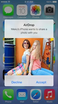 Apple Makes iPhone with iOS7 the Most Secure Smartphone image airdrop received screen