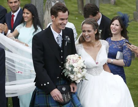 Tennis player Andy Murray leaves after his wedding to his fiancee Kim Sears in Dunblane, Scotland