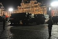Russian surface-to-air missile systems, S-300 PMU2 Favorit, roll on the Red Square in Moscow late on April 26, 2012