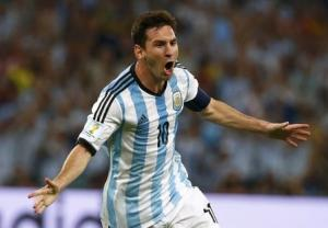Argentina's Messi celebrates scoring a goal against Bosnia during their 2014 World Cup Group F soccer match at the Maracana stadium in Rio de Janeiro