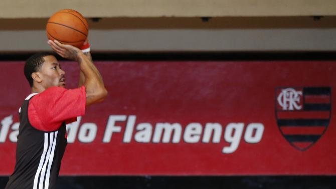 Chicago Bulls' Rose attends a practice ahead of NBA Global Games Rio 2013 in Rio de Janeiro