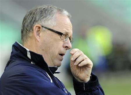 Lars Lagerback, head coach of Iceland reacts during their World Cup qualifying soccer match against Slovenia at Arena Stozice stadium in Ljubljana