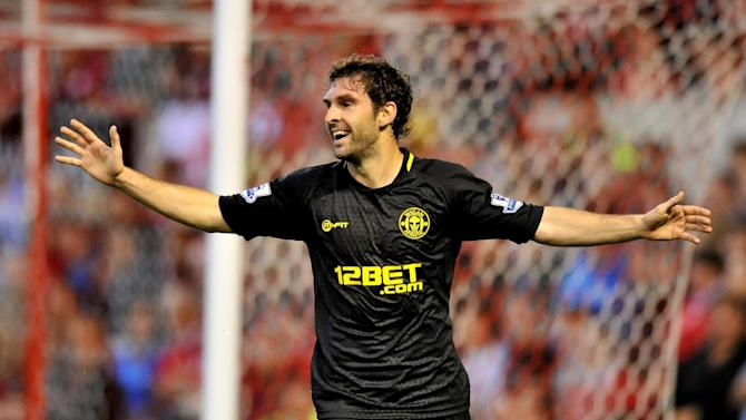 Wigan's Mauro Boselli celebrates scoring against Nottingham Forest in the League Cup this season