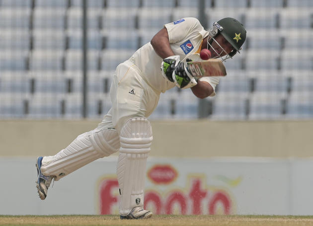 Pakistan's Sami Aslam plays a shot during the first day of the second test cricket match against Bangladesh in Dhaka, Bangladesh, Wednesday, May 6, 2015. (AP Photo/ A.M. Ahad)