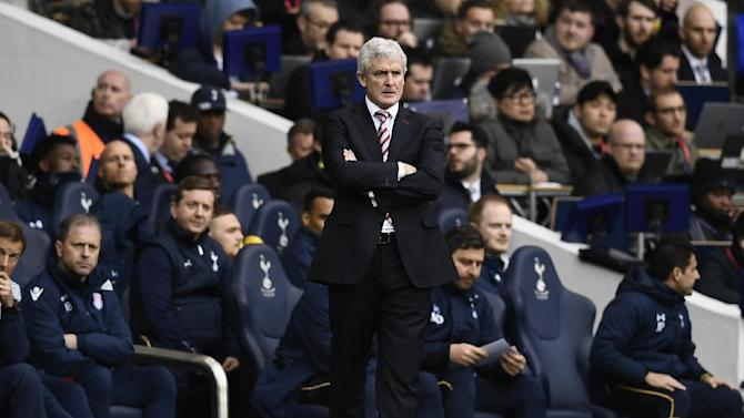 Stoke City manager Mark Hughes during the match