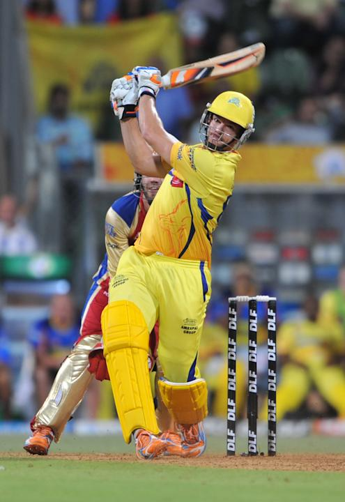 RESTRICTED TO EDITORIAL USE. MOBILE USE WITHIN NEWS PACKAGE Chennai Super Kings batsman Albie Morkel plays a shot during the IPL Twenty20 qualifier1 match between Chennai Super Kings and Royal Challen