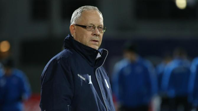 Iceland's coach  Lars Lagerback watches the World Cup qualifying playoff first leg soccer match against Croatia in Reykjavik, Iceland, Friday Nov. 15, 2013