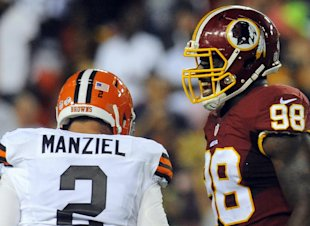Washington LB Brian Orakpo reacts after Cleveland Johnny Manziel was sacked in the first half. (AP)
