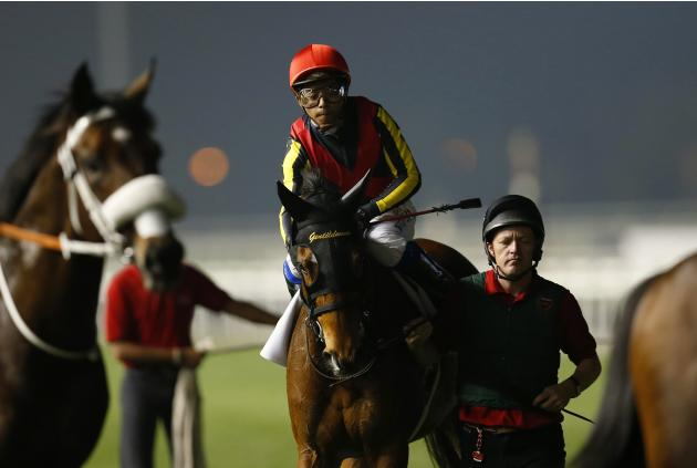 "Iwata, riding Gentildonna of Japan, warms up ahead of the eighth race ""Dubai Sheema Classic"" during the Dubai World Cup at the Meydan Racecourse in Dubai"