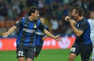 Inter Milan's Diego Alberto Milito (L) and teammate Antonio Cassano during their Serie A match against Fiorentina on September 30. In Group H action, Italian giants Inter travel to Azerbaijan to play Neftci PFK