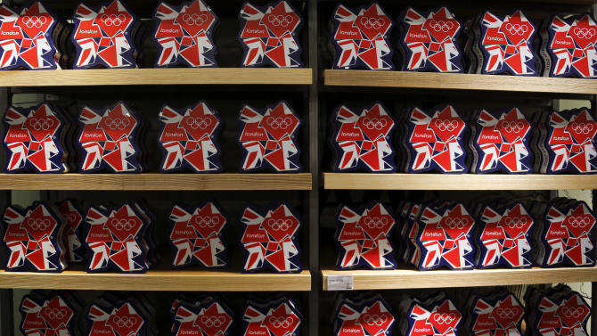 Olympic souvenirs are pictured at a department store outside the London 2012 Olympic Park at Stratford in London