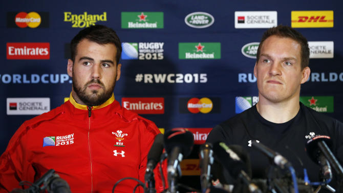 Wales' Scott Baldwin (L) and Gethin Jenkins during a press conference