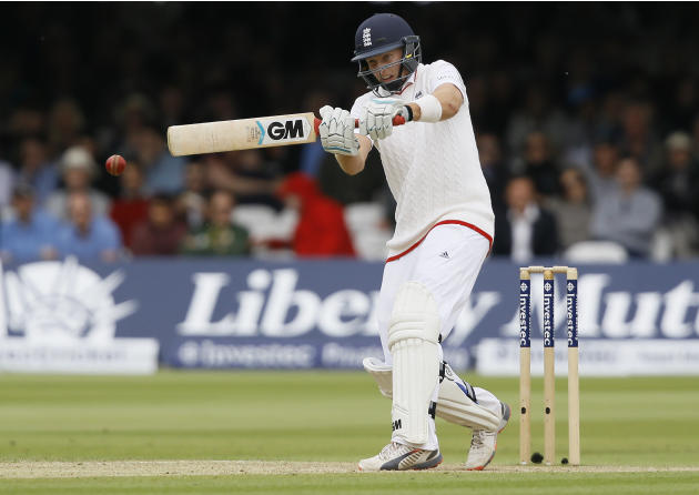 England'sJoe Root plays a shot off the bowling of New Zealand's Trent Boult during the fourth day of the first Test match between England and New Zealand at Lord's cricket ground in London
