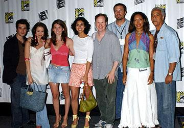 Sean Maher, Summer Glau, Jewel Staite, Morena Baccarin, Joss Whedon, Adam Baldwin, Gina Torres and Ron Glass of Serenity San Diego Comic-Con, 7/16/2005