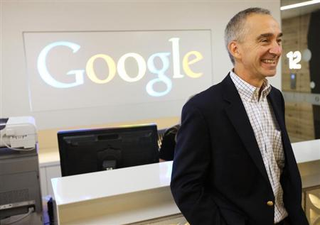 Google Senior Vice President and Chief Financial Officer Patrick Pichette smiles in the new Google office in Toronto, November 13, 2012. REUTERS/Mark Blinch