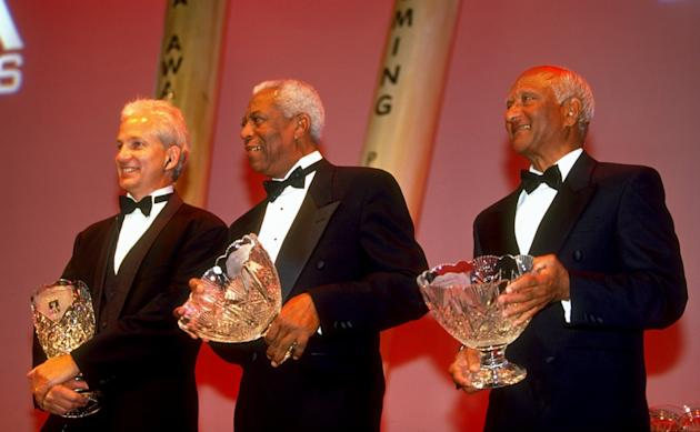 David Gower, Lance Gibbs and Rohan Kanhai