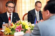 Cambodian Foreign Minister Hor Namhong (R), seen here next to his Indonesian counterpart Marty Natalegawa during a meeting at the Ministry of Foreign Affairs in Phnom Penh, on July 19. Natalegawa has taken on the role of mediator in the South China Sea dispute after the ASEAN failed to reach a common position on the row at a gathering in Phnom Penh last week