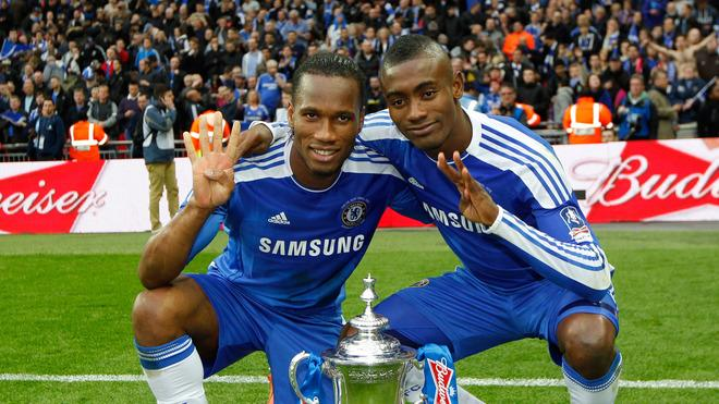 Chelsea's Ivorian Players Didier Drogba (L) And Salomon Kalou (R) Celebrate On The Pitch   AFP/Getty Images
