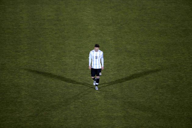 Argentina's Lionel Messi reacts after his team's loss to Chile in their Copa America 2015 final soccer match at the National Stadium in Santiago