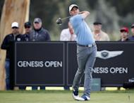 Sam Saunders tees off on the ninth hole during the first round of the Genesis Open golf tournament at Riviera Country Club Thursday, Feb. 16, 2017, in the Pacific Palisades area of Los Angeles. (AP Photo/Ryan Kang)