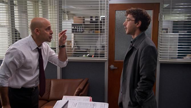 """This film image released by Sony Pictures Classics shows Stanley Tucci, left, and Shia LaBeouf in a scene from """"The Company You Keep."""" (AP Photo/Sony Pictures Classics, Doane Gregory)"""