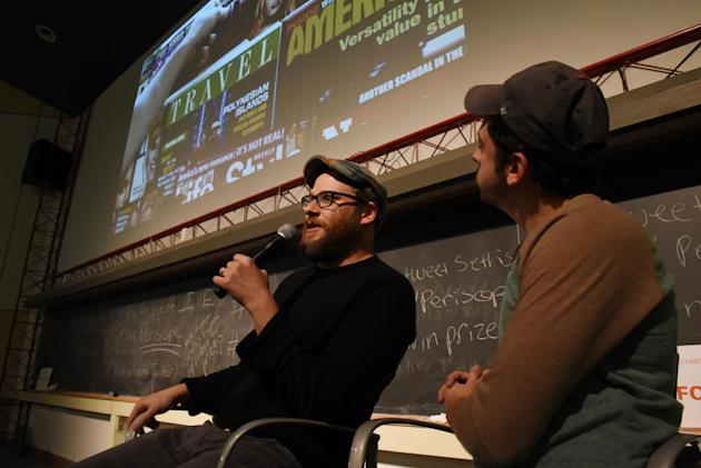 Actors Seth Rogen and Chris Mintz-Plasse provide live commentary during a special screening of their movie Superbad with this year's winners of Hilarity For Charity U -  Pi Kappa Alpha fraternity