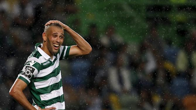 Sporting's Islam Slimani reacts during their Portuguese Premier League soccer match against Guimaraes held at Alvalaxia stadium in Lisbon