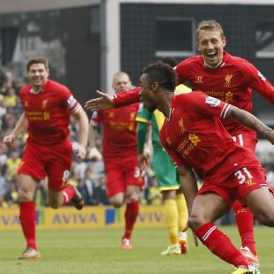 Liverpool's Sterling celebrates his goal against Norwich City during their English Premier League soccer match at Carrow Road in Norwich
