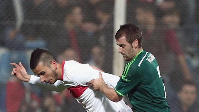 Turkey's Oguzhan Ozyakup, left, and Niall McGinn of Northern Ireland fight for the ball during their friendly soccer match in Adana, Turkey,  Friday, Nov. 15, 2013.(AP Photo)