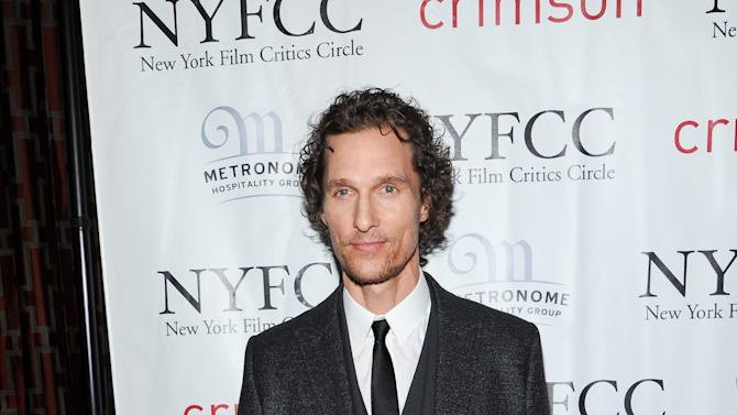 Best Supporting Actor winner Matthew McConaughey arrives at the New York Film Critics Circle awards dinner at the Crimson Club on Monday Jan. 7, 2013 in New York. (Photo by Evan Agostini/Invision/AP)