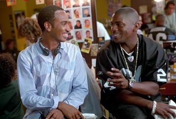 Director Bille Woodruff and Mekhi Phifer on the set of Universal's Honey