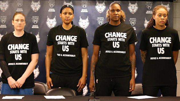 Image result for Off-duty officers working security for WNBA game walk off job over players' black lives matter shirts