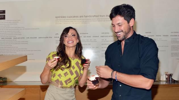Karina Smirnoff and Maksim Chmerkovskiy attend 'Forever Tango' cupcake unveiling at Sprinkles Cupcakes on July 16, 2013 in New York City -- Getty Images