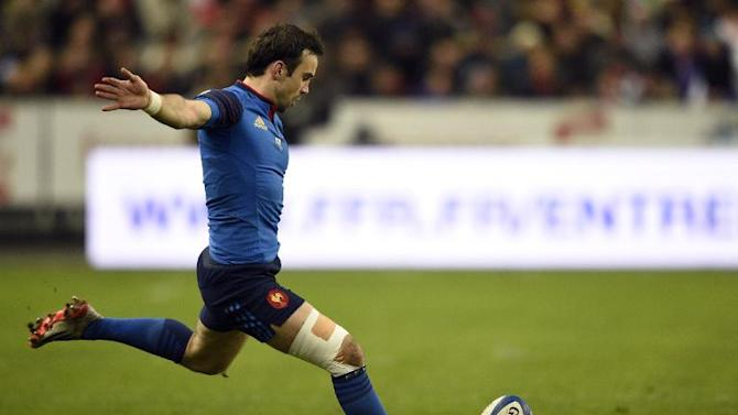 France's scrum-half Morgan Parra kicks a penalty during the Six Nations international rugby union match between France and Wales on February 28, 2015 at the Stade de France in Saint-Denis, north of Paris