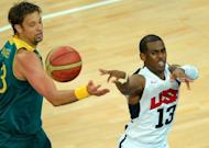 US guard Chris Paul shoots the ball during his team's London 2012 Olympic Games men's quarterfinal basketball match against Australia in London on August 8