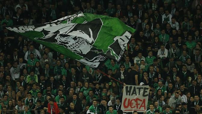 St Etienne fans with a banner